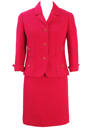 Vintage 60's Hot Pink Two Piece Jackie O Style Skirt & Jacket Wool Suit - S