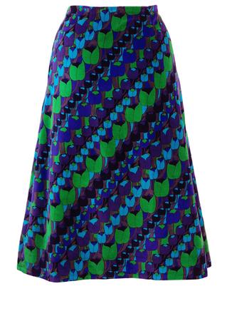 Vintage 70's Psychedelic Green, Purple & Blue Tulip Print Velvet Midi Skirt - M