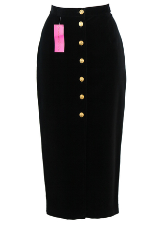 Black Velvet Midi Pencil Skirt with Decorative Gold Buttons - New - S