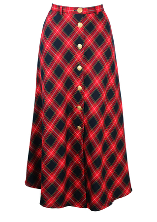 Navy Blue & Red Tartan Maxi Skirt with Decorative Gold Buttons - S
