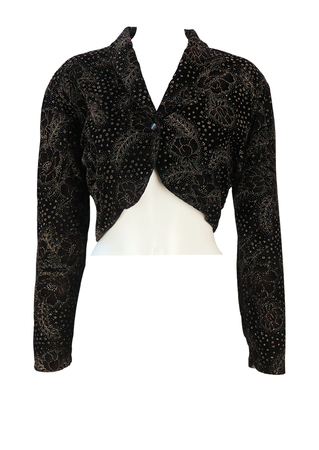 Black Velvet Cropped Bolero Jacket with Red, Gold & Silver Glitter Floral Pattern - M/L