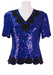 Blue Multi Sequinned Silk Top with Decorative Black Bead Detail & Scalloped Edging - S