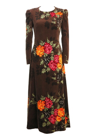Brown Velvet Maxi Dress with Orange & Red Floral Pattern - S/M