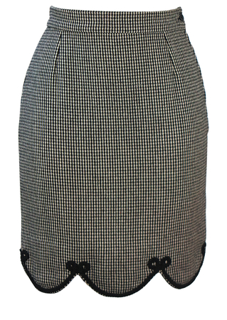 Black & White Dogtooth Check Mini Pencil Skirt with Scallop Hem Detail - XS/S