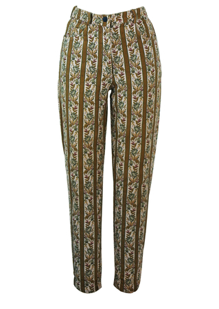 Trousers with Green, Pink & Cream Floral & Striped Tapestry Pattern - S