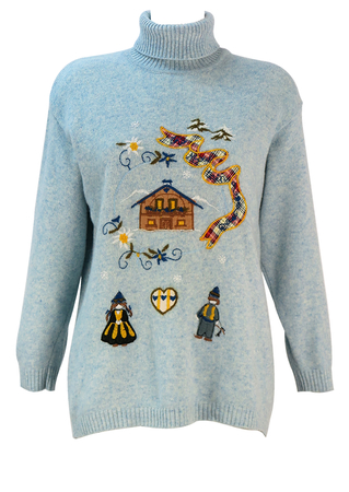 Light Blue Woollen Roll Neck Jumper with Applique Alpine Scene - M