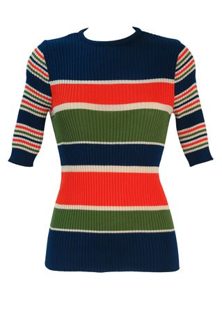 Vintage 70's Ribbed Knit Short Sleeve Top with Orange, Green, Cream & Blue Stripes - S