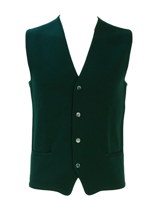 John Walker Green Knit Waistcoat with Ribbed Back and Front Pockets - S/M