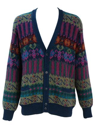 Multicolour Patterned Cardigan in Blue, Purple, Green & Orange - XL/XXL
