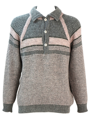 Grey & Pale Pink Patterned Shetland Wool Jumper with Collar & Button Detail - L