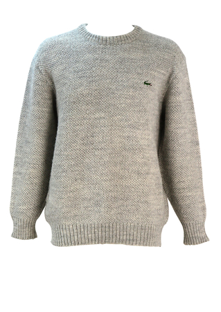 Lacoste Chunky Grey Marl Pure Wool Jumper - L/XL