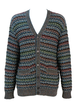 Missoni Burgundy, Brown, Blue & Green Stripe Patterned Wool Cardigan - L
