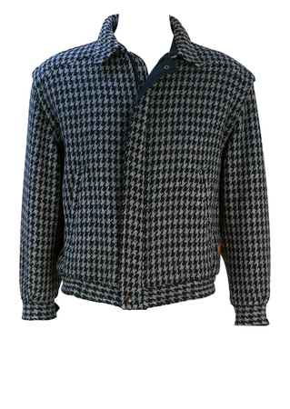 Reversible Blue & Grey Dogtooth Check Bomber Jacket with Navy Blue Alternate Side - L