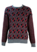 Jumper with Burgundy, Black & Grey Geometric Pattern & Striped Sleeves - M/L