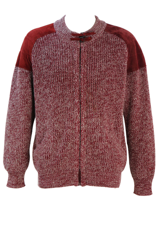 Burgundy & White Mottled Zip Front Cardigan with Suede Shoulder Detail - L/XL