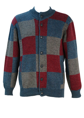 Cardigan with Grey, Blue & Burgundy Checkerboard Pattern - M/L