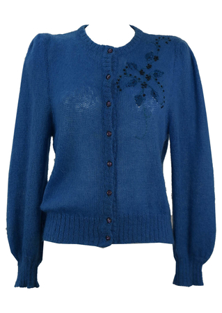Blue Mohair Cardigan with Floral Embroidery Detail - M/L