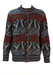 Chunky Knit Cardigan with Blue, Red, Green & Brown Pattern - L/XL