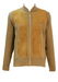 Pure Wool Camel Coloured Zip Front Cardigan with Suede Detail - L