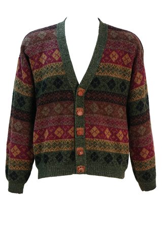 Fair Isle Patterned Cardigan in Burgundy, Brown, Green & Black with Horse Motif Buttons - L/XL