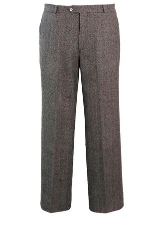 Grey Pleat Front Tailored Wool Trousers with Red, Green & Blue Flecks - 36""