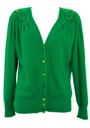 Emerald Green Cardigan with Sequin & Bead Shoulder Detail - M/L