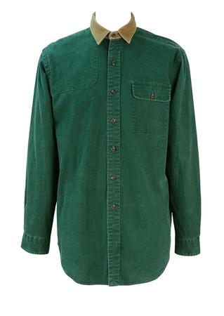 Polo Ralph Lauren Green Cotton Denim Shirt with Camel Corduroy Collar - L/XL
