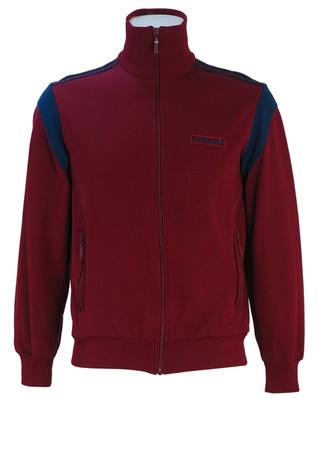 Vintage 80's Burgundy Adidas Track Jacket with Navy Blue Stripes & Shoulder Detail - S/M