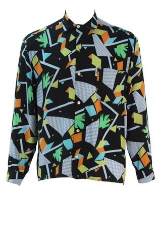 Vintage 90's Black Shirt with Yellow, Orange, Green & Blue Geometric Pattern - M/L