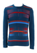 Vintage 70's Teal Blue Fitted Jumper with Red, Orange & Blue Graphic Pattern - S/M