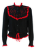 Black Drawstring Cardigan with Red Frill and Braiding Detail - M