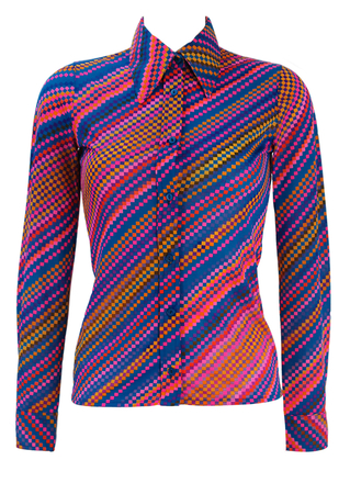 Vintage 70's Blue Blouse with Multicoloured Geometric Check Pattern - XS/S