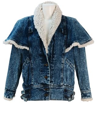 Denim Jacket with Cape Overlay Design and Sherpa Collar & Cuffs Detail - M