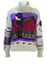 Grey Roll Neck Mohair Jumper with Silk Scarved Woman & Floral Wool Embroidery - M