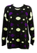 Vintage 90's Oversized Grey Jumper with Purple & White Dots - M/L