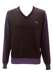Fred Perry Brown & Lilac Patterned V-Neck Wool Jumper - L