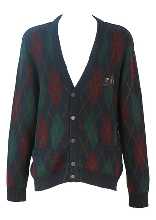 Paul & Shark Yachting Navy Blue, Green & Burgundy Argyle Pattern Cardigan - L/XL