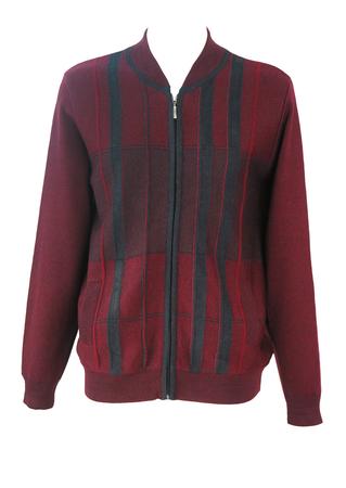 Burgundy & Grey Zip Front Cardigan with Vertical Stripe Panels - L/XL