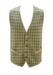 Beige Wool Waistcoat with Grey & Fern Green Check Pattern - L