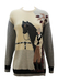 Cream and Grey Wool Jumper with Horse & Horse Rider Applique Image - M/L