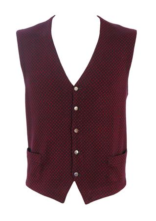 Pure Wool Fine Knit Waistcoat with Red & Navy Blue Diamond Motif Pattern - M/L