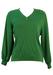 Soft Green V Neck Jumper with Diamond Shaped Pattern - M