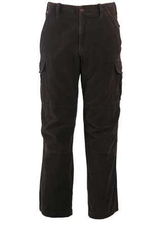 Napapijri Brown Corduroy Cargo Trousers - 32""
