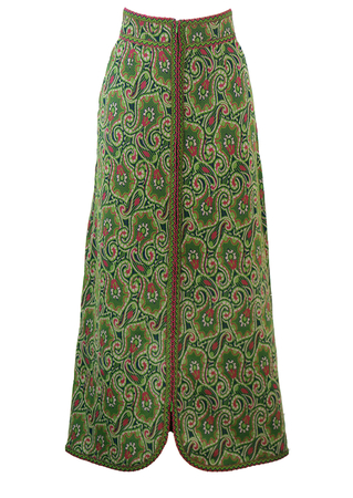 Vintage 1970's Maxi Skirt with Green & Pink Abstract Floral & Paisley Pattern - XS