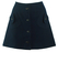 Vintage 60's Navy Blue Button Front Mini Skirt with Asymmetric Pockets - XS/S
