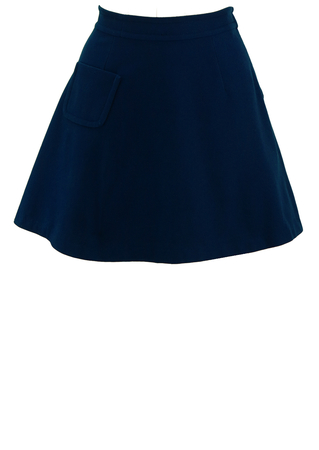 Vintage 60's Blue Mini Skirt with Pocket Detail - XS/S