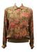 Camel, Pink & Fern Green Floral Print Blouse - M
