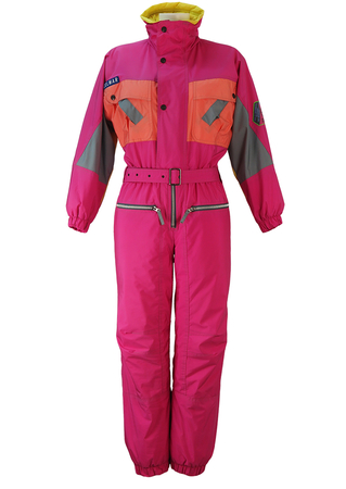 Colmar Hot Pink Ski Suit with Orange, Yellow & Grey Panel Detail - S/M