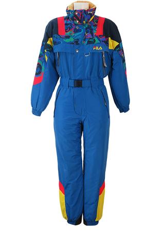 Blue Fila Ski Suit with Multicoloured Upper Panels - S