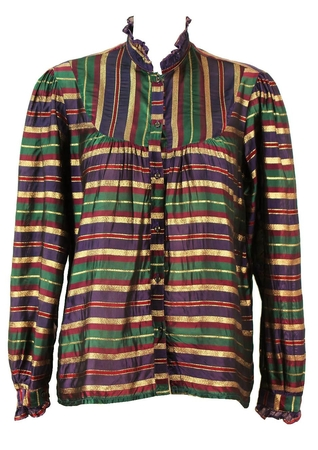 Vintage 80's Purple, Green, Red & Gold Metallic Striped Blouse - M/L